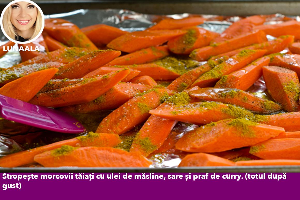 Dulci, picanți și exotici, morcovii prăjiți cu curry - un fel de mâncare delicioasă